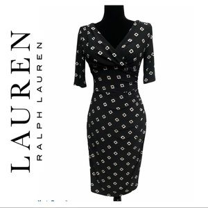 Lauren Ralph Lauren Black Faux Wrap Dress